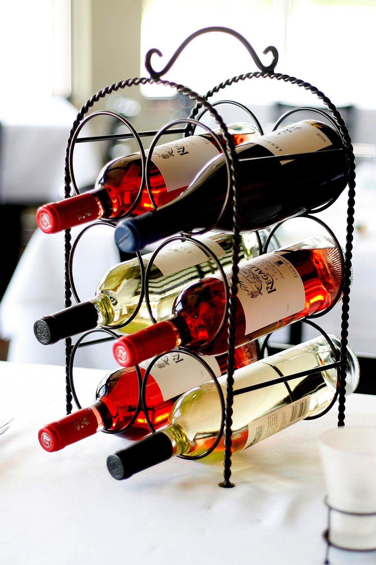 Weave Collection 6 Bottle Wine Rack Antique Black Hautelook Wrought Iron Wine Rack Wine Rack Table Top Wine Rack