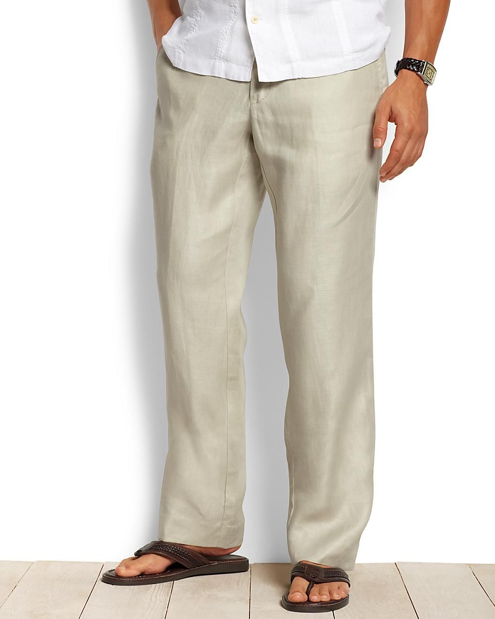 Men's casual linen trousers Do off-duty in style with our fabulous range of men's casual trousers. Choose from natural linen designs, chinos, classic cargo s and dashing cords, laid-back options or the perfect pair for 'smart-casual' - our wide collection of colours and cuts will fashionably fit the bill.