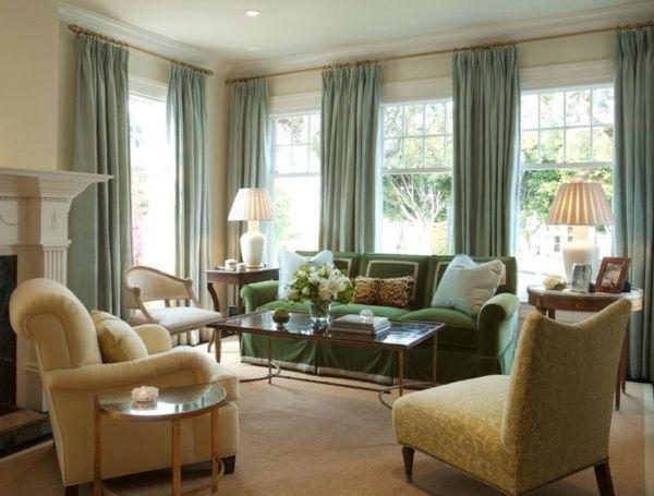 Wohnraumgestaltung wohnzimmer ~ Grünes wohnzimmer gardinen kolonialstil möbel sessel gelb grüner