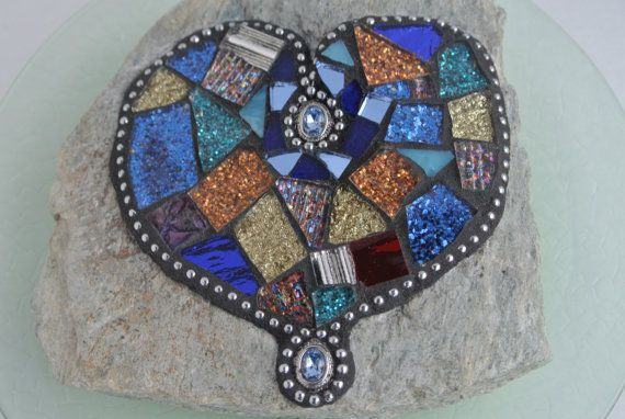 Mosaic Heart Rock Multicolor Paperweight Garden by PalsCreations