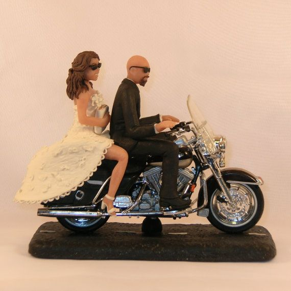Motorcycle Wedding Cake Topper Bald Groom By Caketopcreations