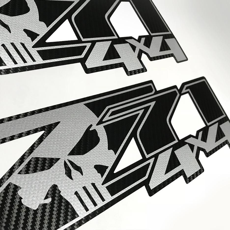 Carbon fiber z71 4x4 punisher chevy silverado chevrolet stickers decals