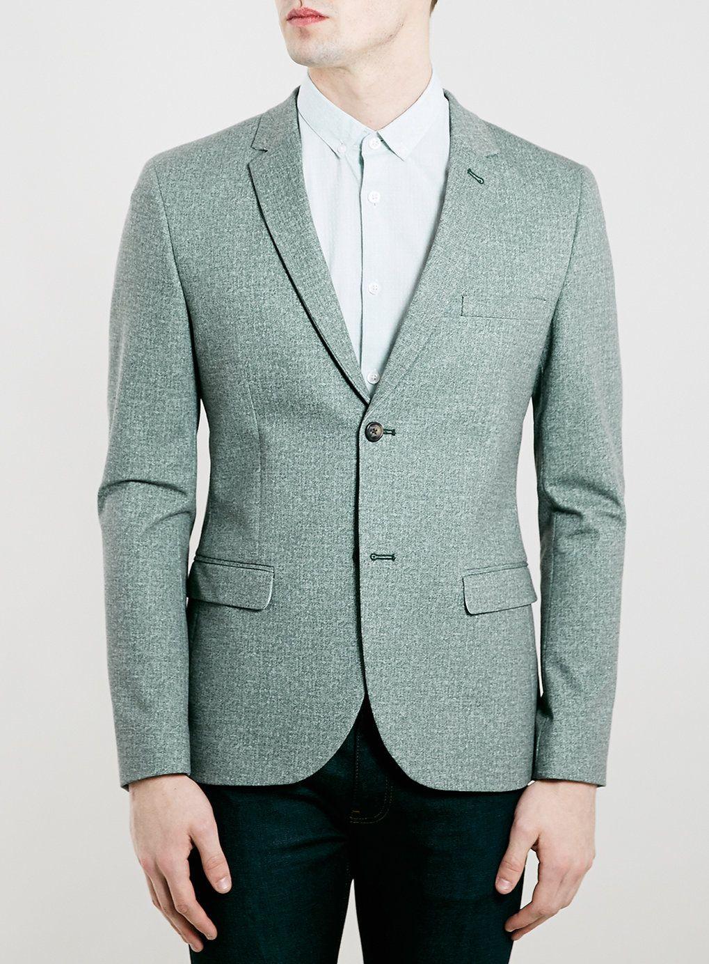 LIGHT GREEN SKINNY FIT JERSEY BLAZER - Topman | Wear Me - Men\'s ...