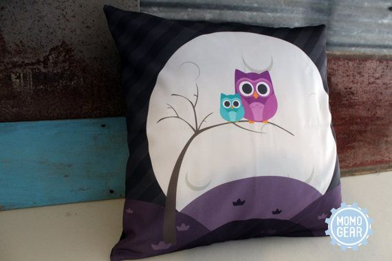 Owl Decorative Pillow Cover Cute Owl Pillow Owl by MomoGearShop