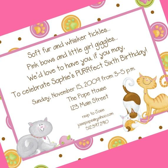 Cat Birthday Party Invitation 12 Invitations And Envelopes Custom Wording Also Available As A Digital File For You To Print