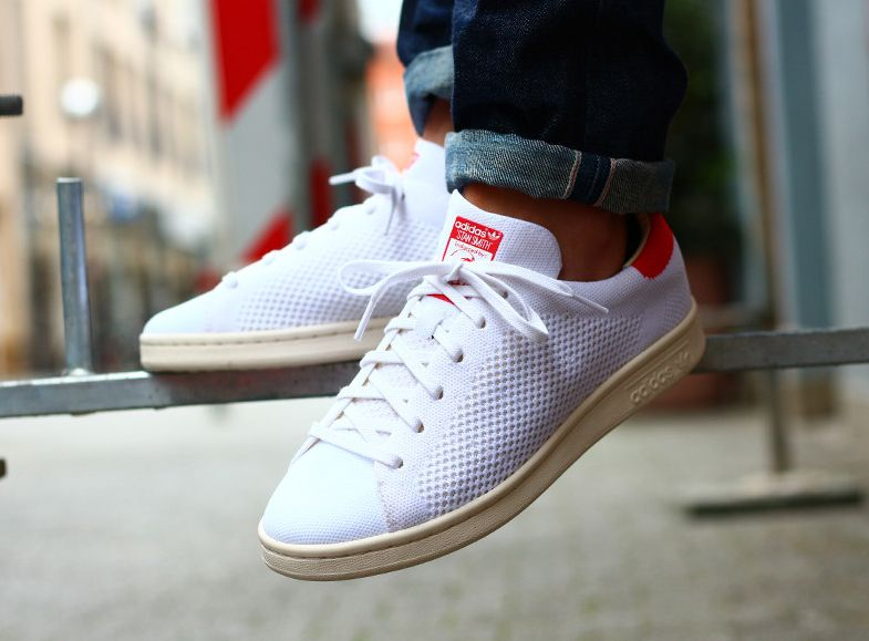 new style 6fd5e 798a5 Basket Adidas Stan Smith Primeknit OG PK (White Chalk Red) (1)