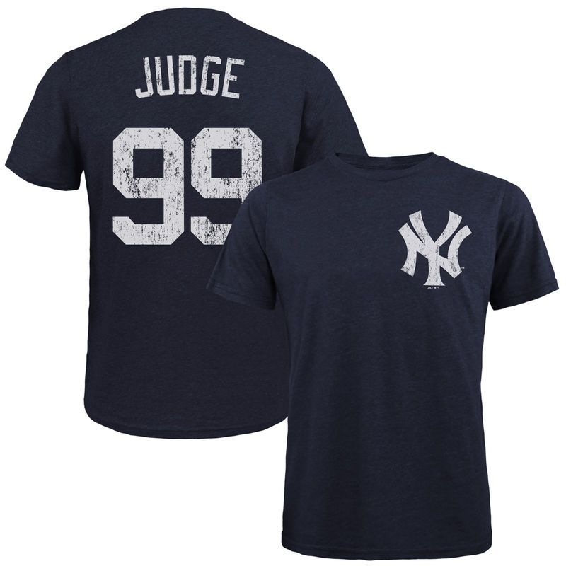 31106d65 Aaron Judge New York Yankees Majestic Threads Tri-Blend Name & Number T- Shirt - Navy