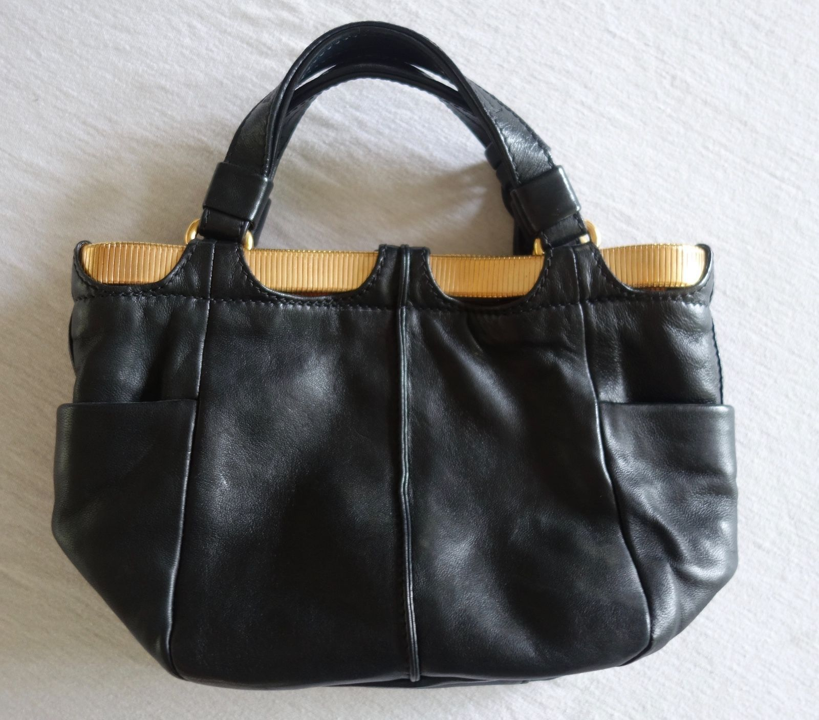 Jimmy Choo Black Leather Small Tote Bag W Rose Gold Hardware
