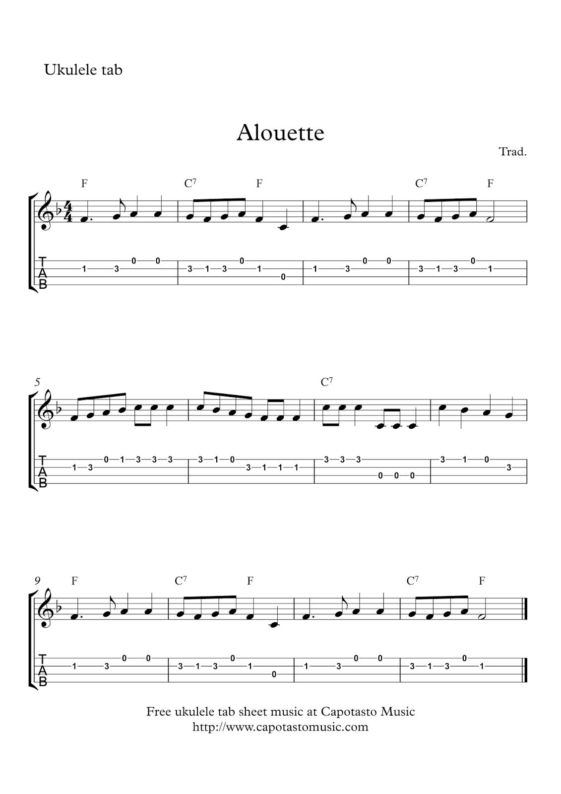 Alouette | Free easy ukulele tab sheet music | Uke in 2019