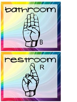 Bathroom In Sign Language wall posters of hand signals for bathroom, water and tissue | hand