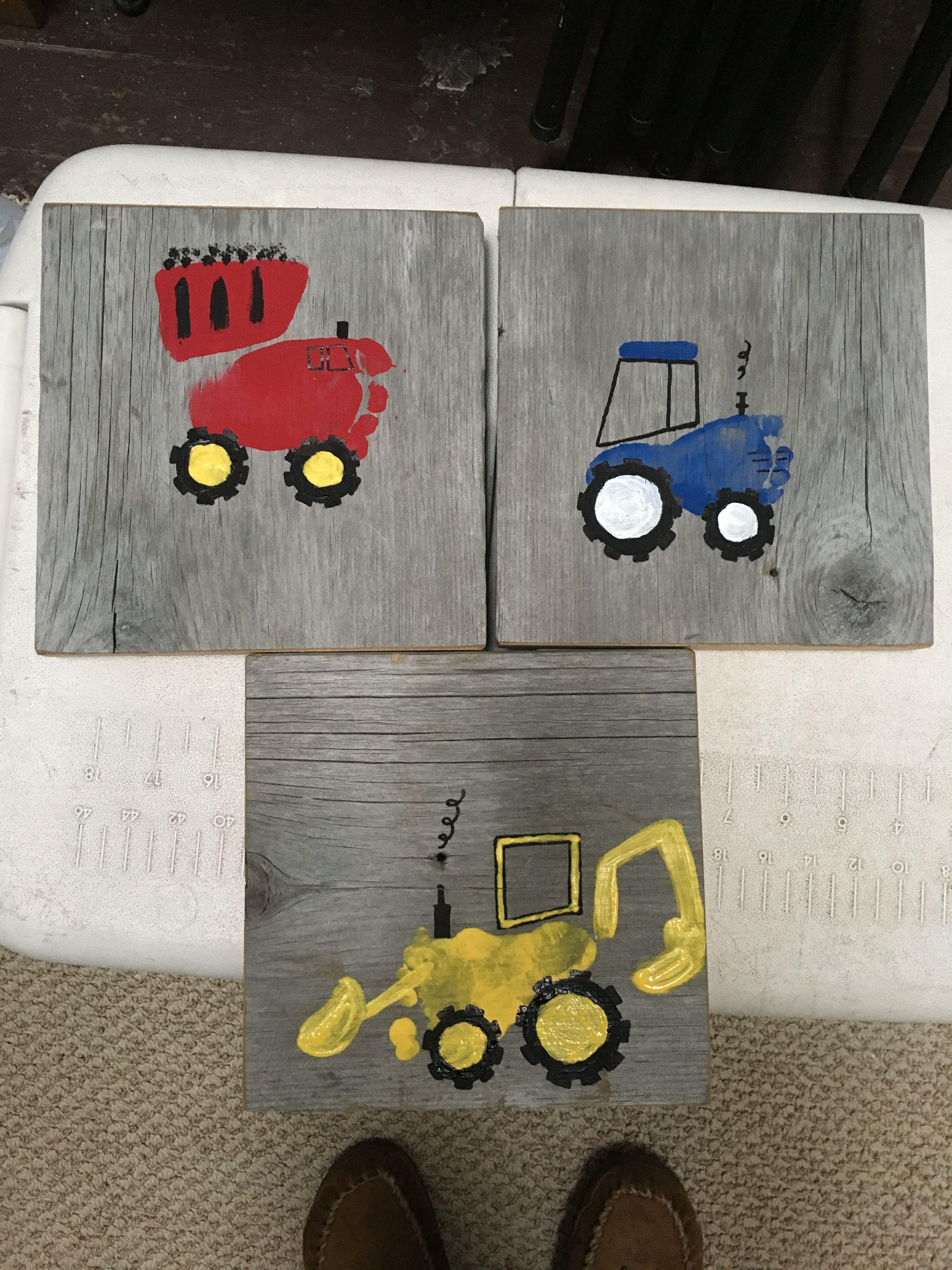 Foot print construction vehicles DIY. Dump truck, tractor, back hoe.