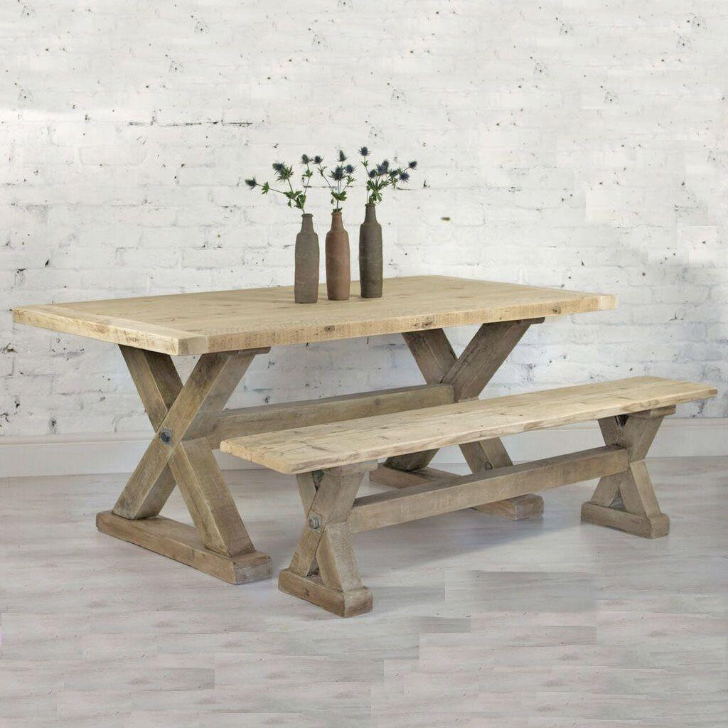 Reclaimed Wood Plank Trestle Dining