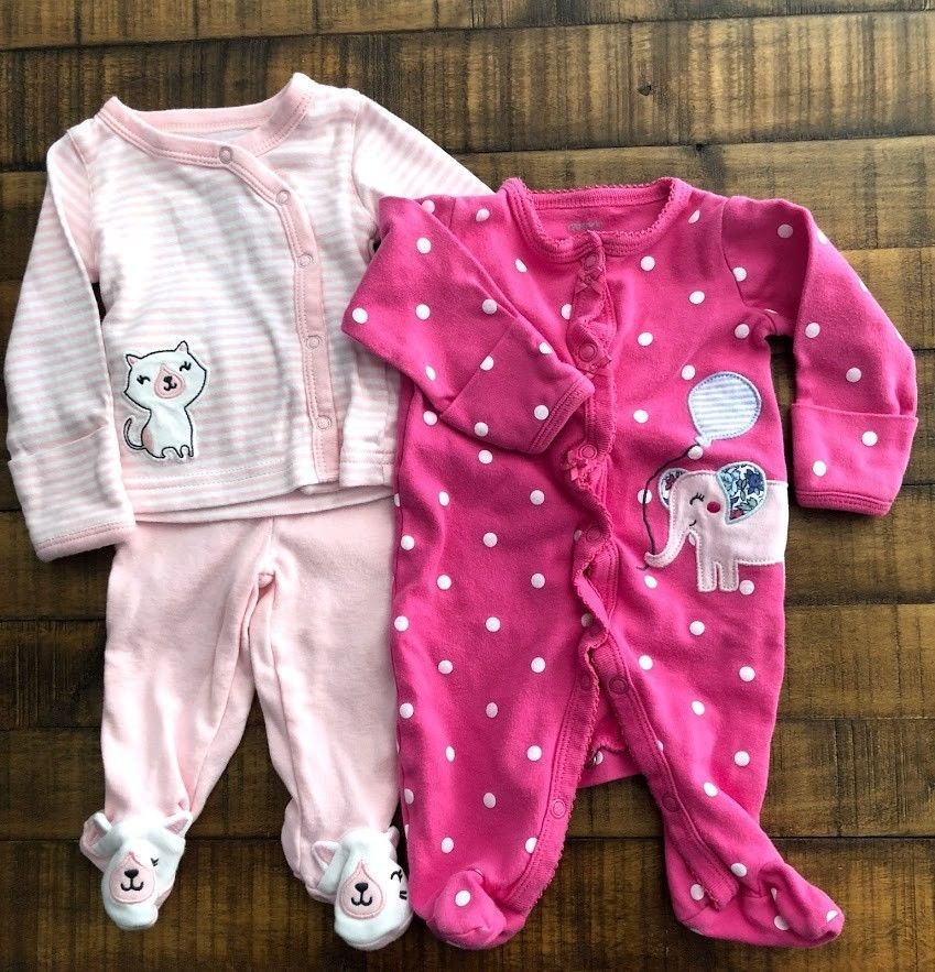 46aad1b5d Carters Baby Girl Newborn footed snap pink stripe and polka dot pajama set  #fashion #clothing #shoes #accessories #babytoddlerclothing ...