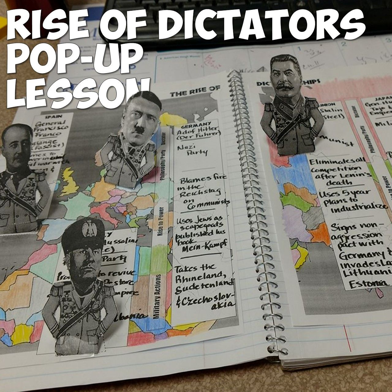 World War 2 Rise Of Dictators Pop Up Figures Lesson World History Teaching World History Lessons World History Classroom
