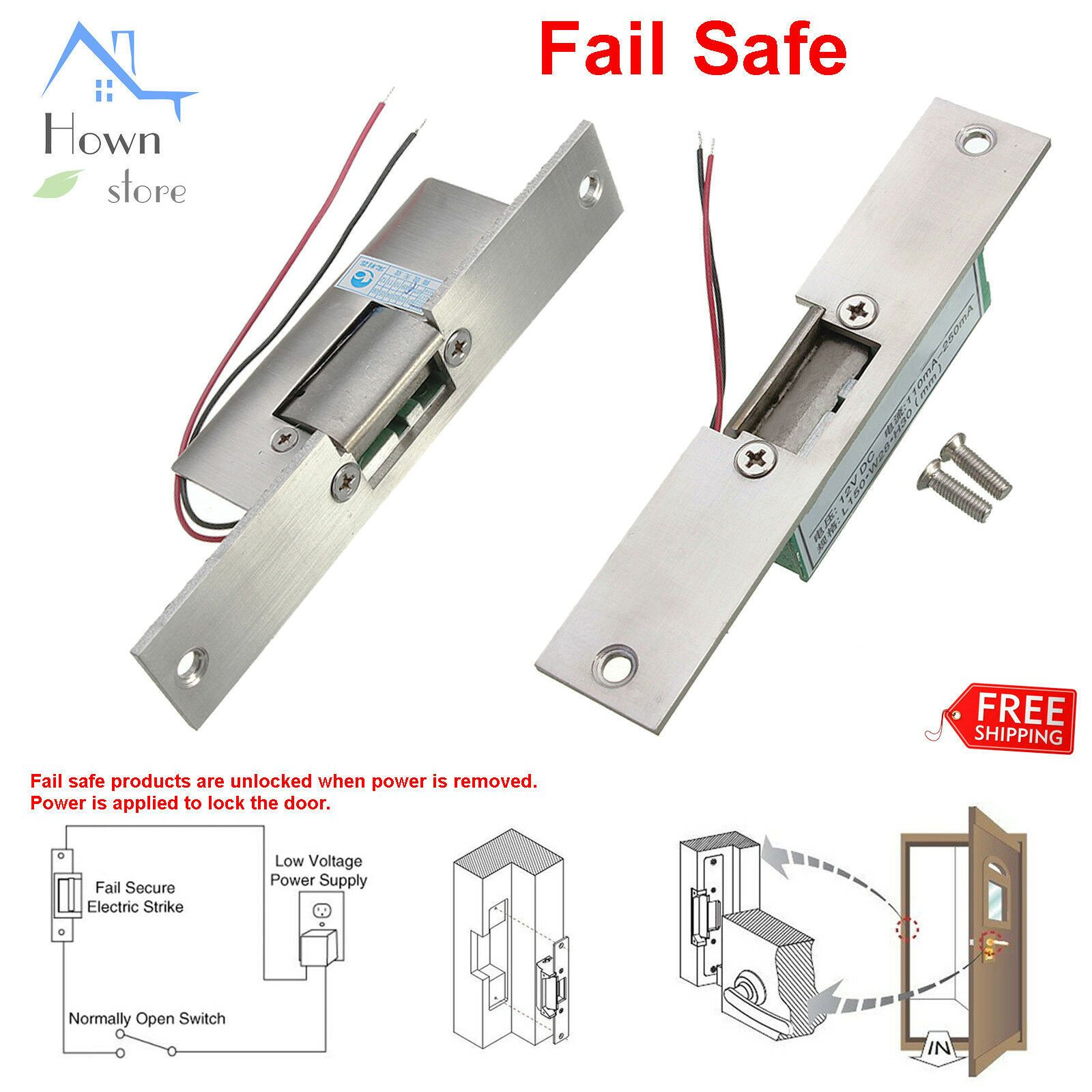 Door Access Control Electric Strike Lock Narrow Fail Safe Frame 12v Dc 0 2a Access Control Smart Door Locks Pvc Door