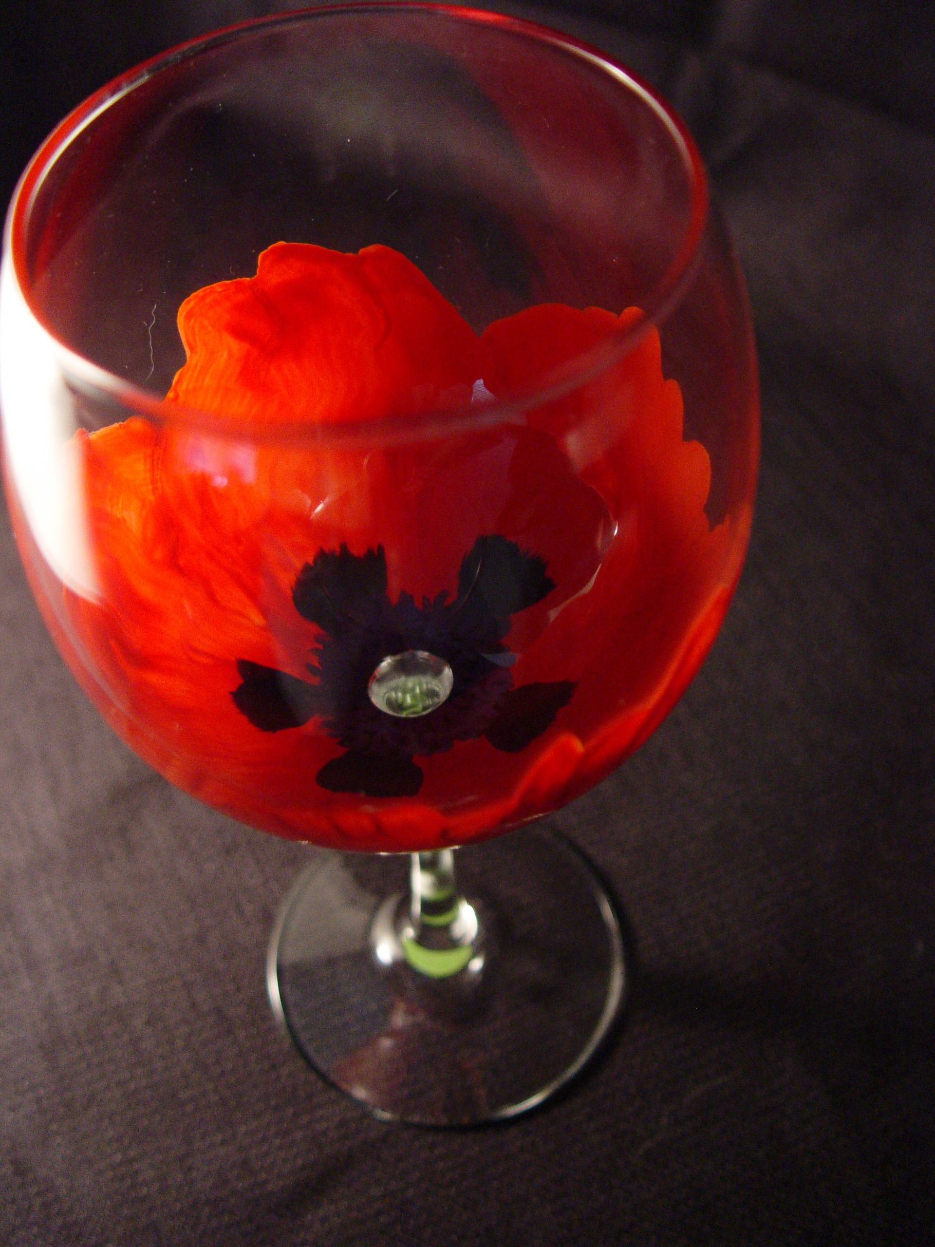 This Red Poppy Wine Glass Is Now Available In A Fine Quality Thin Walled Tasting Glass The V Painted Wine Glass Hand Painted Wine Glass Hand Painted Glasses