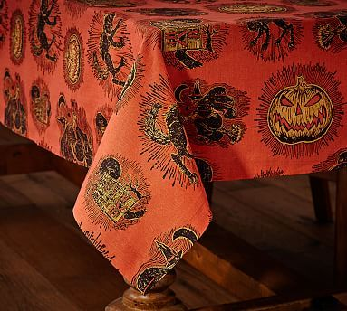 Spooky Halloween Icon Tablecloth #potterybarn Halloween - how to decorate home for halloween