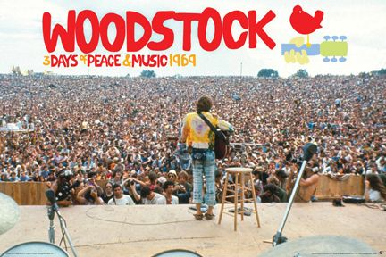 Woodstock Stage View Poster John Sebastian Performing 3 Days Of