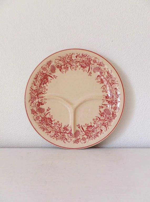 Vintage Shenango Stoneware Ceramic Plate Sectioned Plate Dinner Plate Vtg Divided Plate Inca Ware Plate Pink Red Floral Border on Cream Dish | Ceramic ... & Vintage Shenango Stoneware Ceramic Plate Sectioned Plate Dinner ...