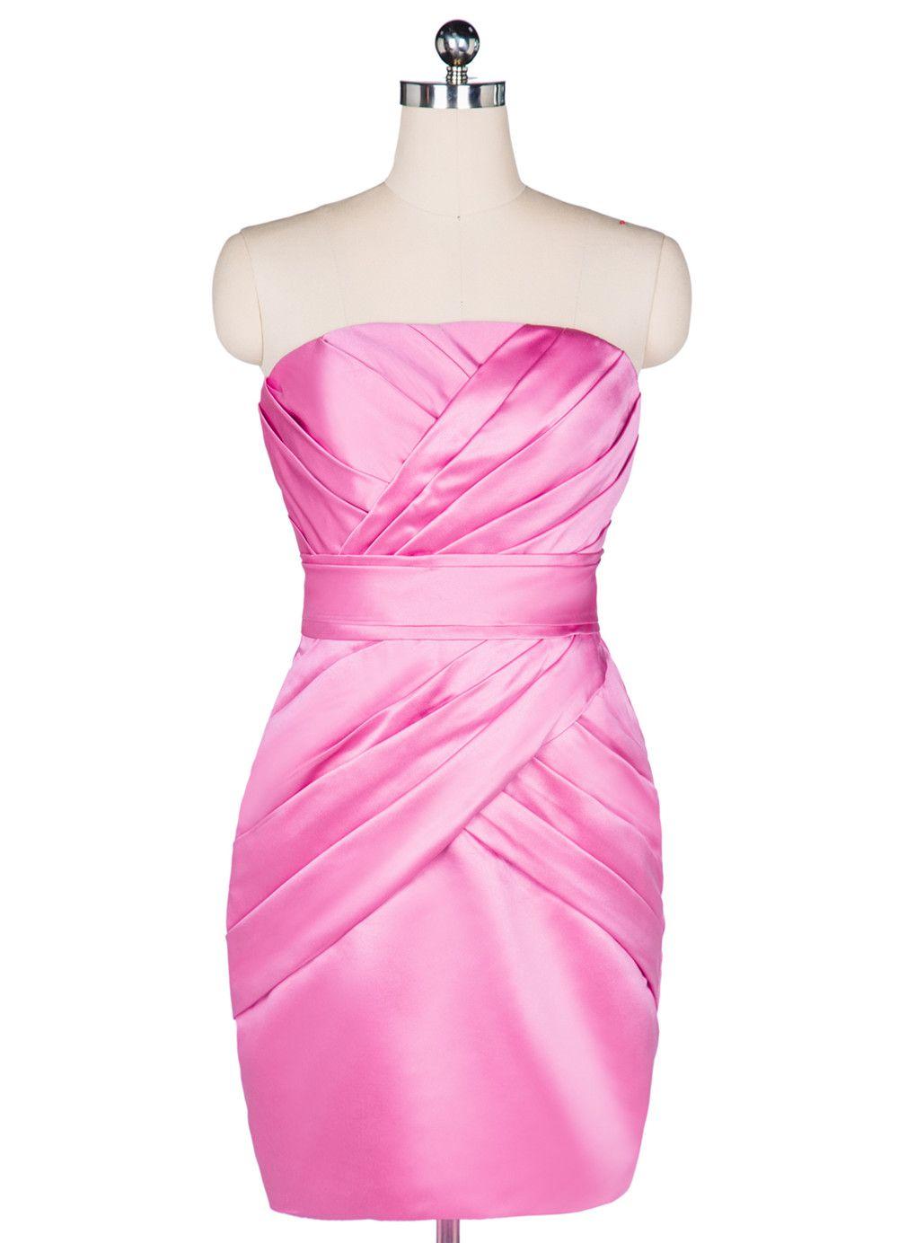 100% Real Picture Short Formal Cocktail Dresses Satin Pink Satin ...