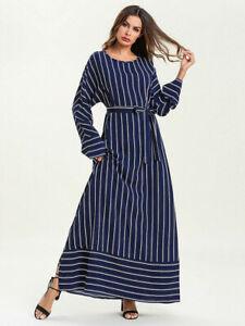 Dubai Muslim Women Stripes Casual Abaya Long Maxi Kaftan Long Dress Robe Islamic | eBay