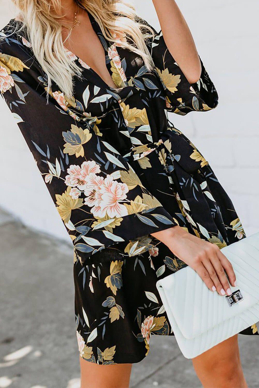 Black V Neck 3 4 Sleeve Casual Floral Dress Floral Dress Casual Floral Dress Outfits Floral Dress [ 1500 x 1001 Pixel ]