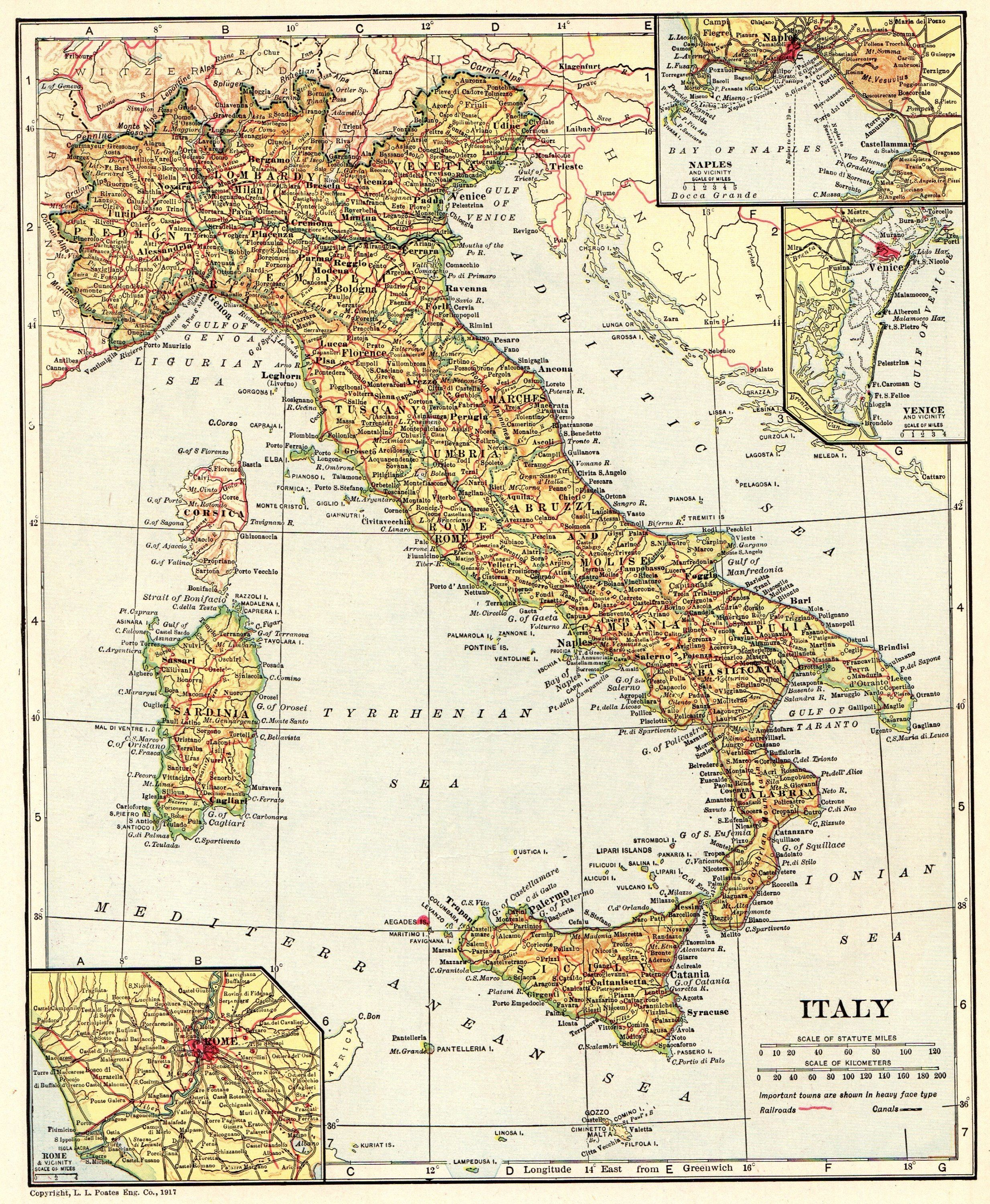 1918 Antique ITALY Map Vintage Map of Italy Travel Gallery ...