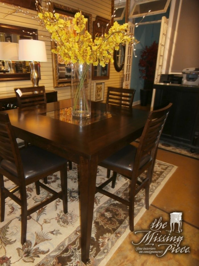 Square pub table in merlot with center mosaic design and ...