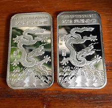 999 Fine Silver 2012 Chinese Year Of The Dragon One Troy Oz Bullion Bars 2 Year Of The Dragon Silver Bars Silver Coins