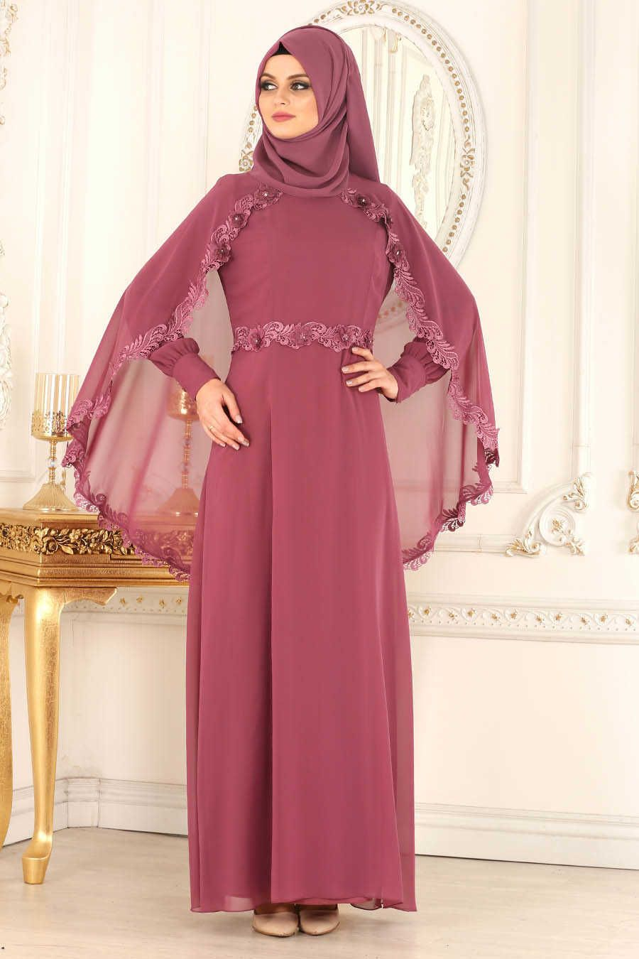 Neva style dusty rose hijab evening dress gk fashion muslim