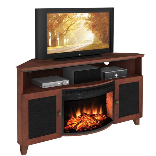 Furnitech Corner Tv Stand With Electric Fireplace For 65 Tv Ft61sccfb Electric Fireplace Tv Stand Corner Electric Fireplace Electric Fireplace