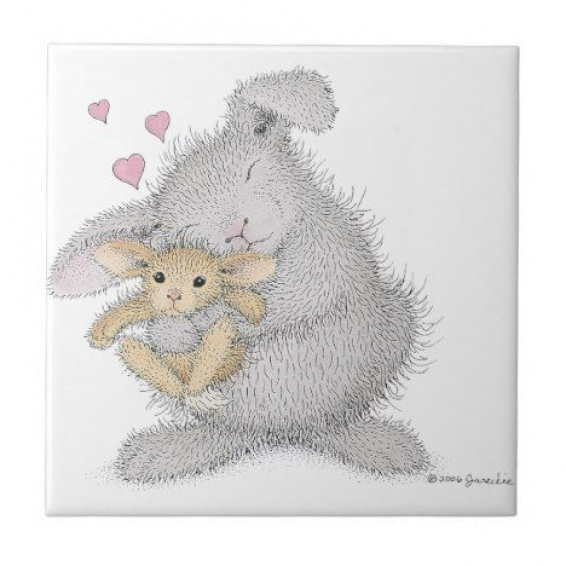 The HappyHoppers Ceramic Tile #happyhoppers #cute #creatures #rabbithouses