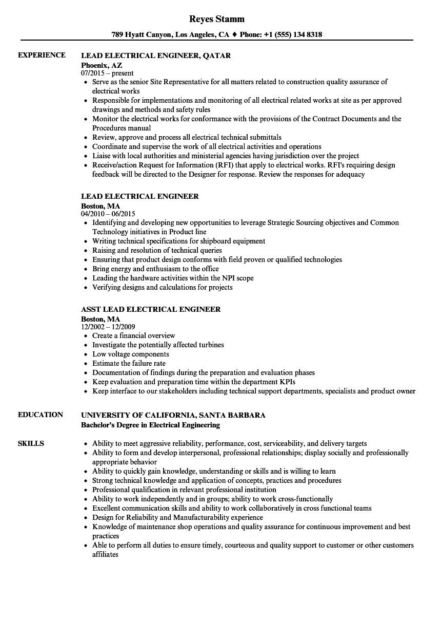 Electrical Engineering Resume Examples Great Lead Electrical Engineer Resume Samples Of 35 Sp Resume Examples Engineering Resume Job Resume Examples