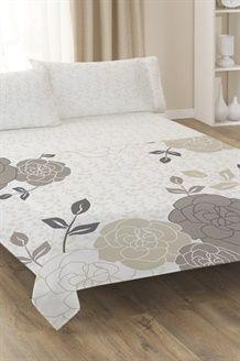 Conjunto de lençóis La Flor<BR>Branco e cinzento