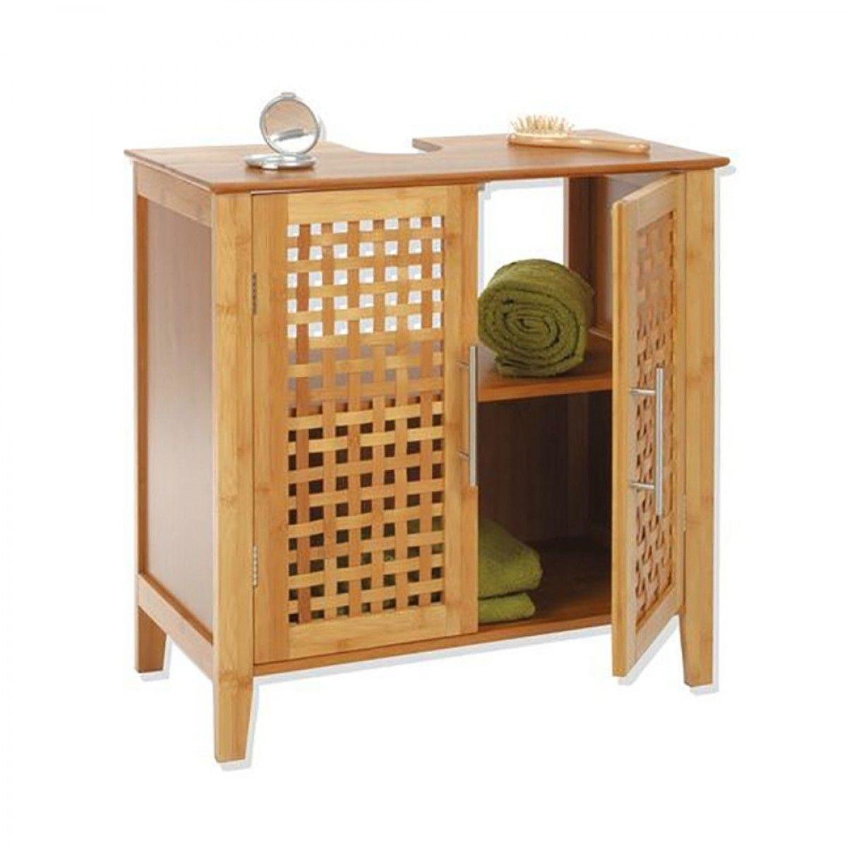 Meuble Dessous De Lavabo Bambou Deco Salle De Bain Meuble Sous