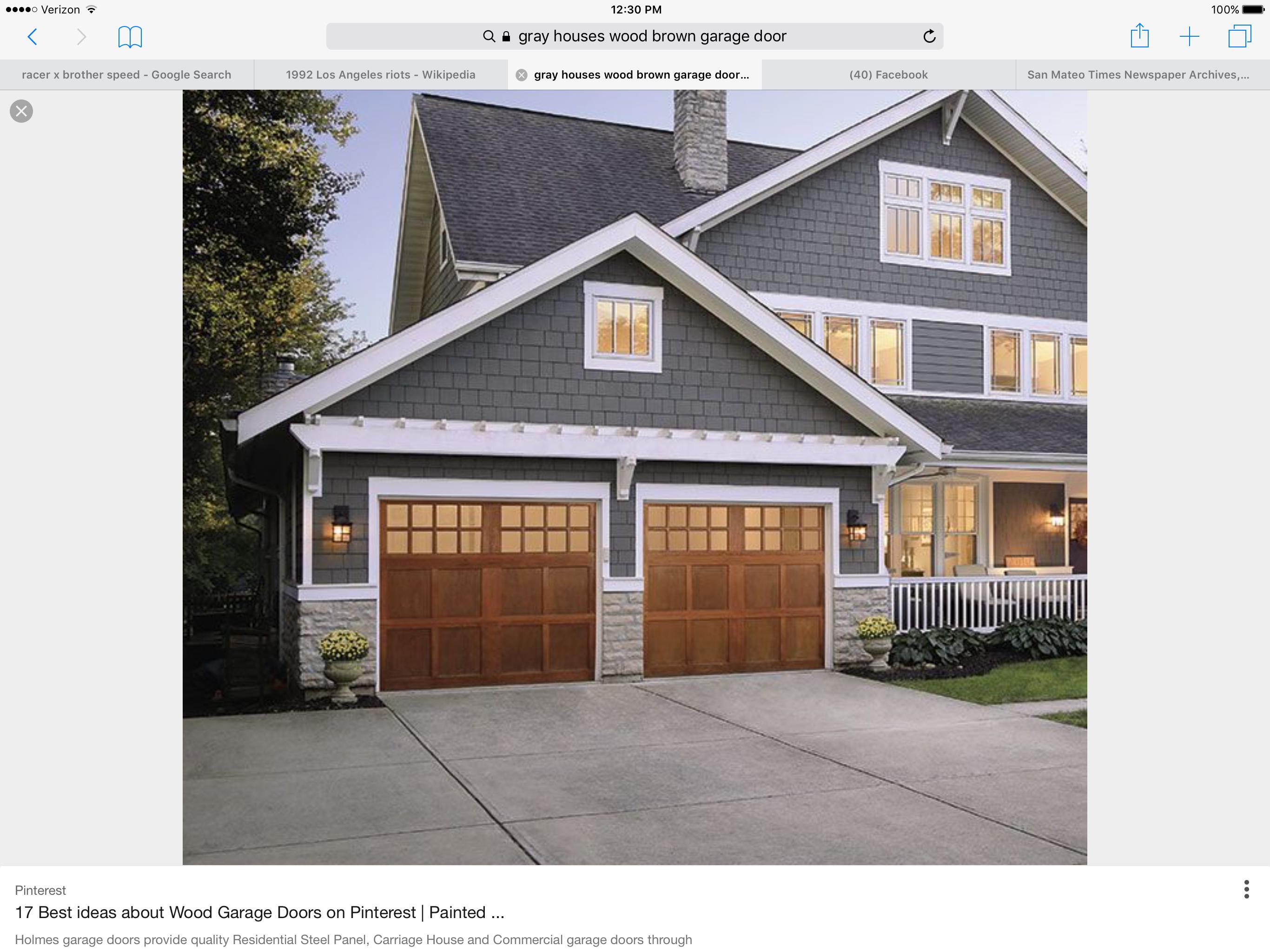 Gray Wood Garage door Exterior House Paint