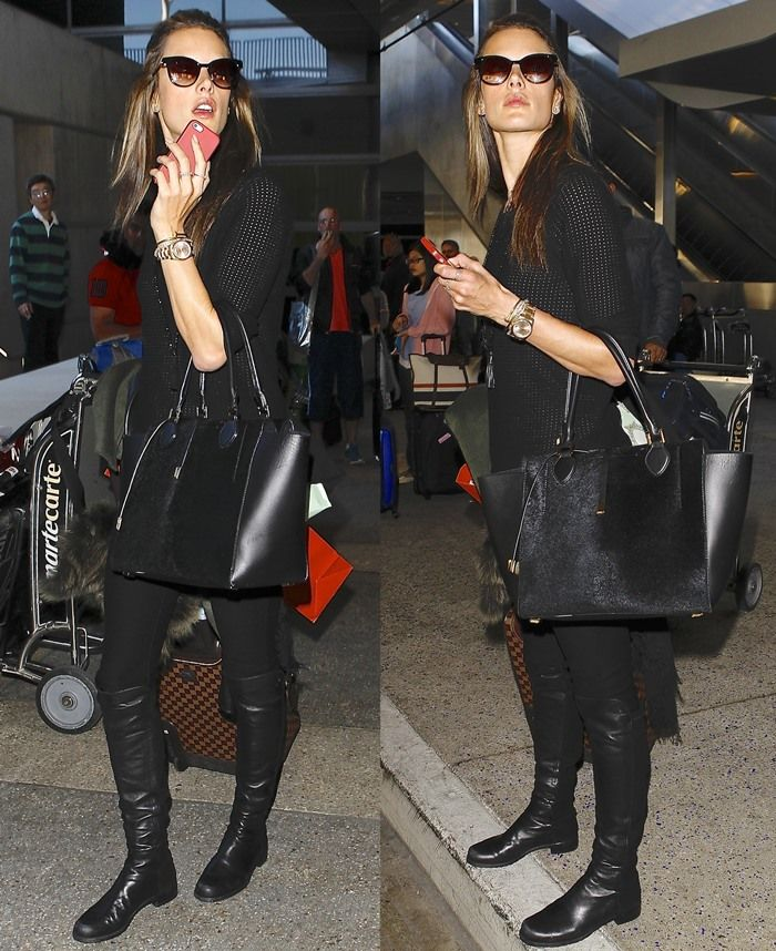 db256ff7cae Alessandra Ambrosio in Stuart Weitzman  5050  Over the Knee Leather Boots