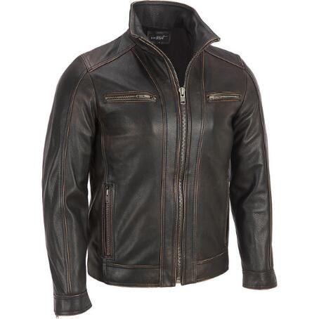 Black Rivet Leather Faded Seam Cycle Jacket Vie Leather Jacket Men Leather Jacket Men Style Brown Leather Jacket