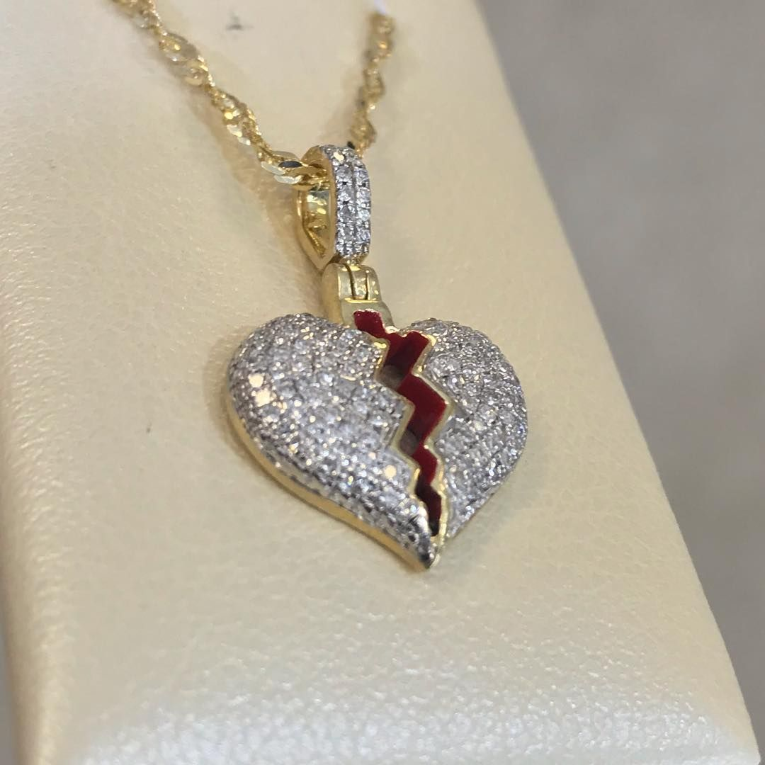 The Official King Johnny C On Instagram 250 10k Yellow Gold 0 22ct Diamond Broken Heart Pendant With 10k Gold Chain Broken Heart Pendant Heart Pendant