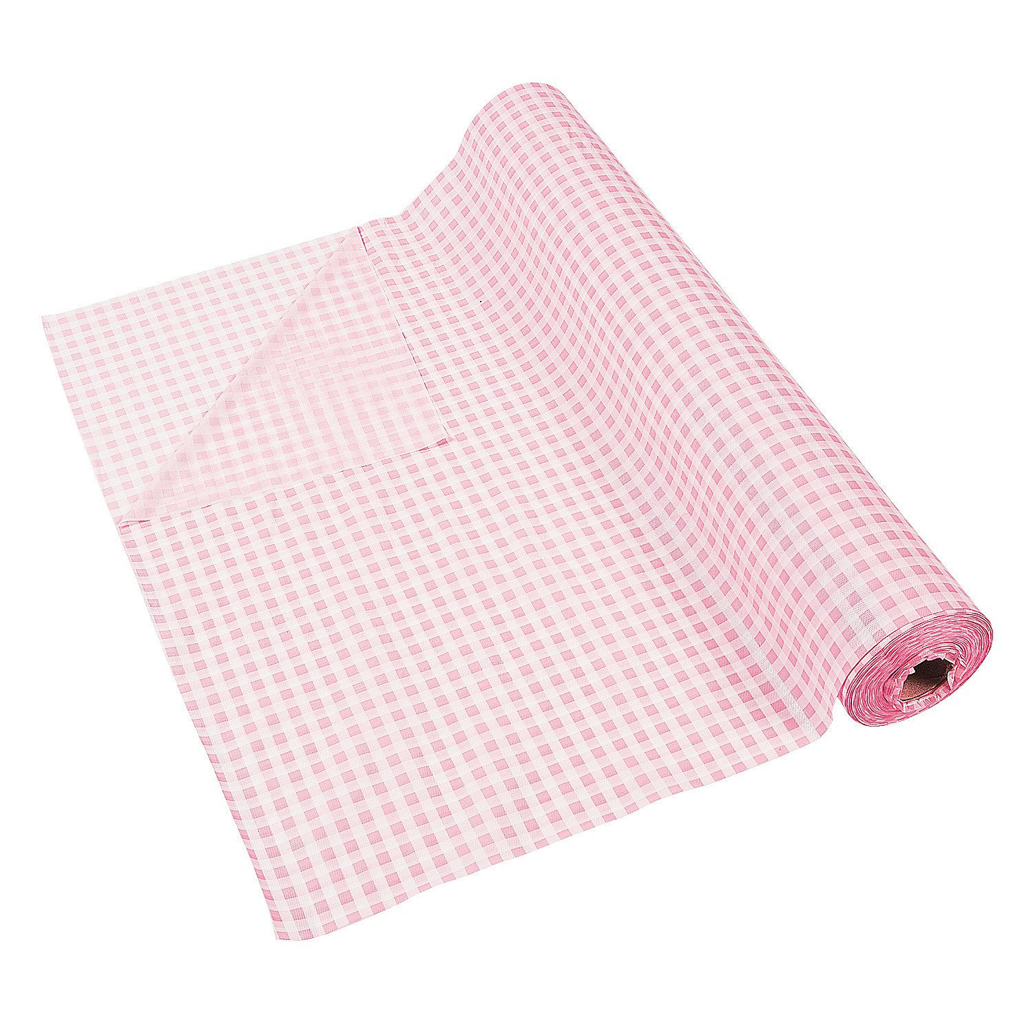 Light Pink Gingham Tablecloth Roll Orientaltrading