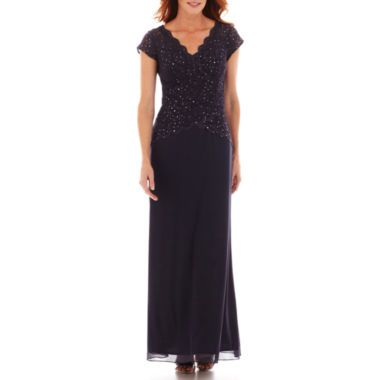 Blu Sage V-Neck Cap Sleeve Tiered Lace Bodice Gown found at  JCPenney 102c1934d