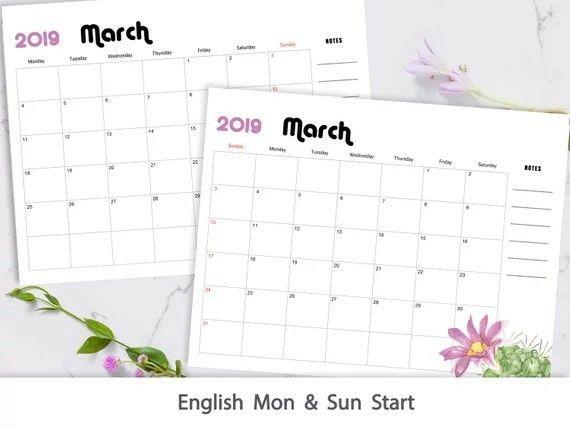 etsy 2019 Desk Calendar Printable, Watercolor Botanical Floral