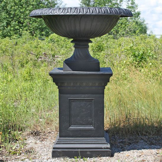 Black Cast Iron Wide Mouth Urn Planter With Pedestal