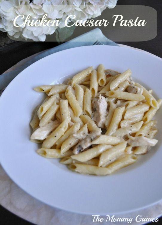 Chicken caesar pasta the mommy games favorite pasta dish for Como cocinar corbatitas