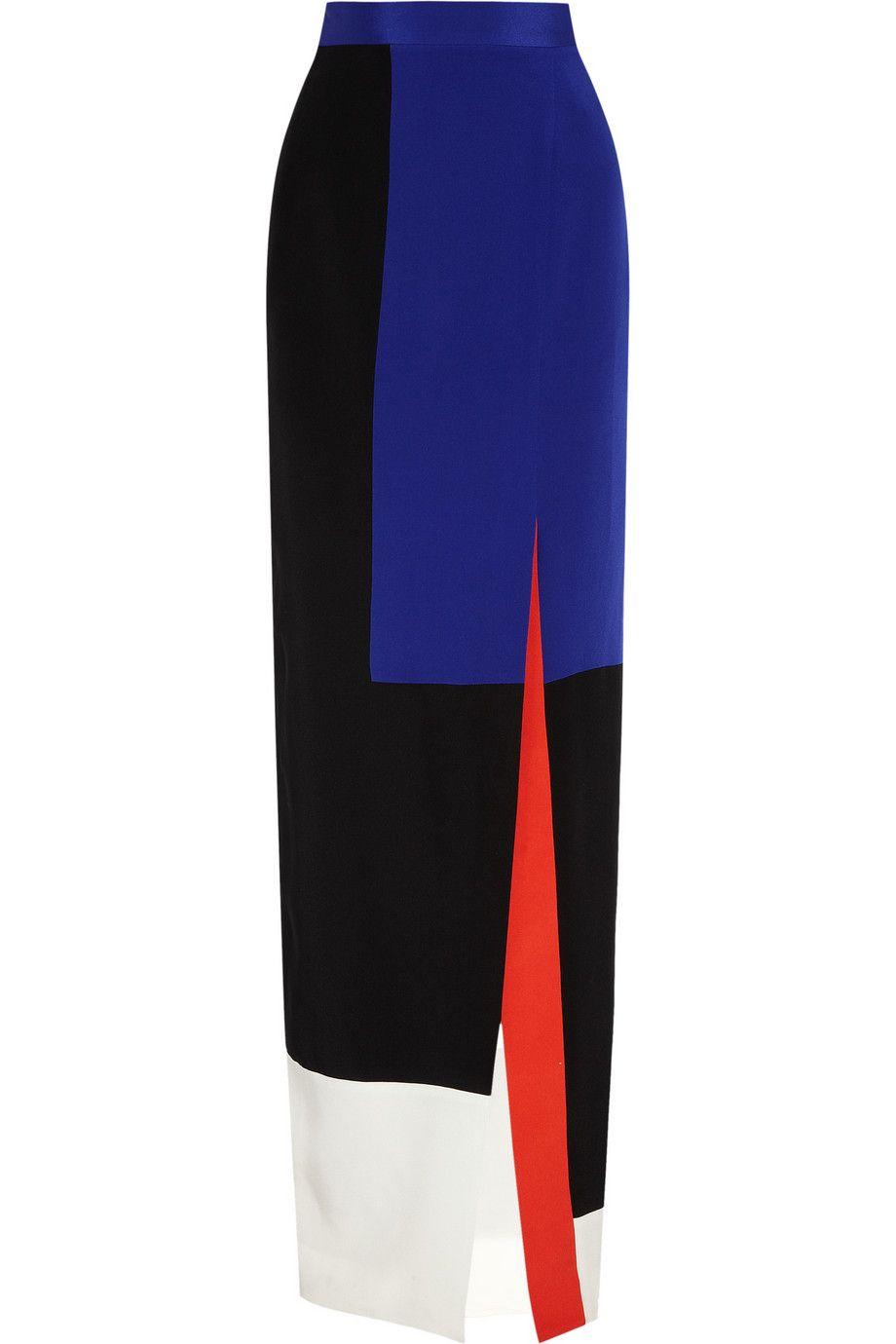 Roksanda Ilincic Color-block silk maxi skirt NET-A-PORTER.COM