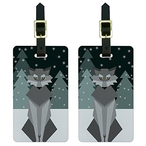 Geometric Winter Wolf Luggage Tags Suitcase CarryOn ID Set of 2 -- You can find out more details at the link of the image.Note:It is affiliate link to Amazon.