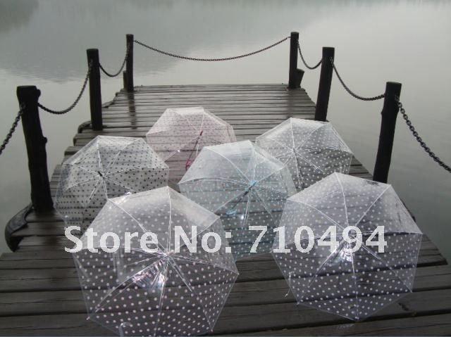 ladies holding multi colored umbrellas | free DHL shipping ladies multi color polka dots transparent umbrella ...
