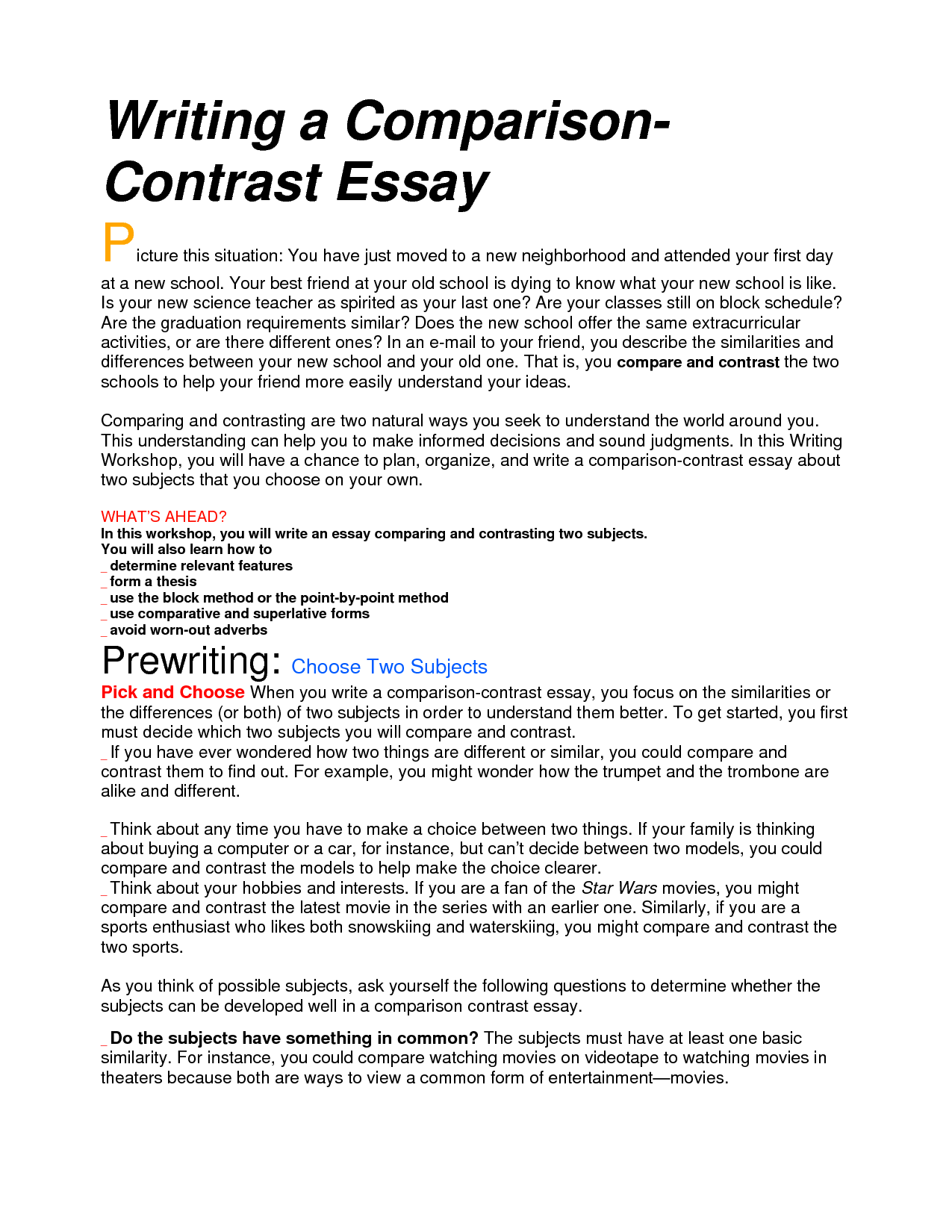 image result for examples of compare and contrast essay for middle