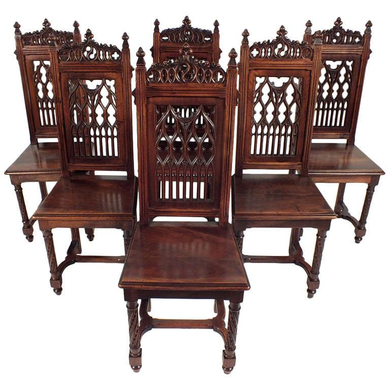 Antique 1900 s Gothic Style Dining Chairs   From a unique collection of  antique and modern dining. Antique 1900 s Gothic Style Dining Chairs   From a unique