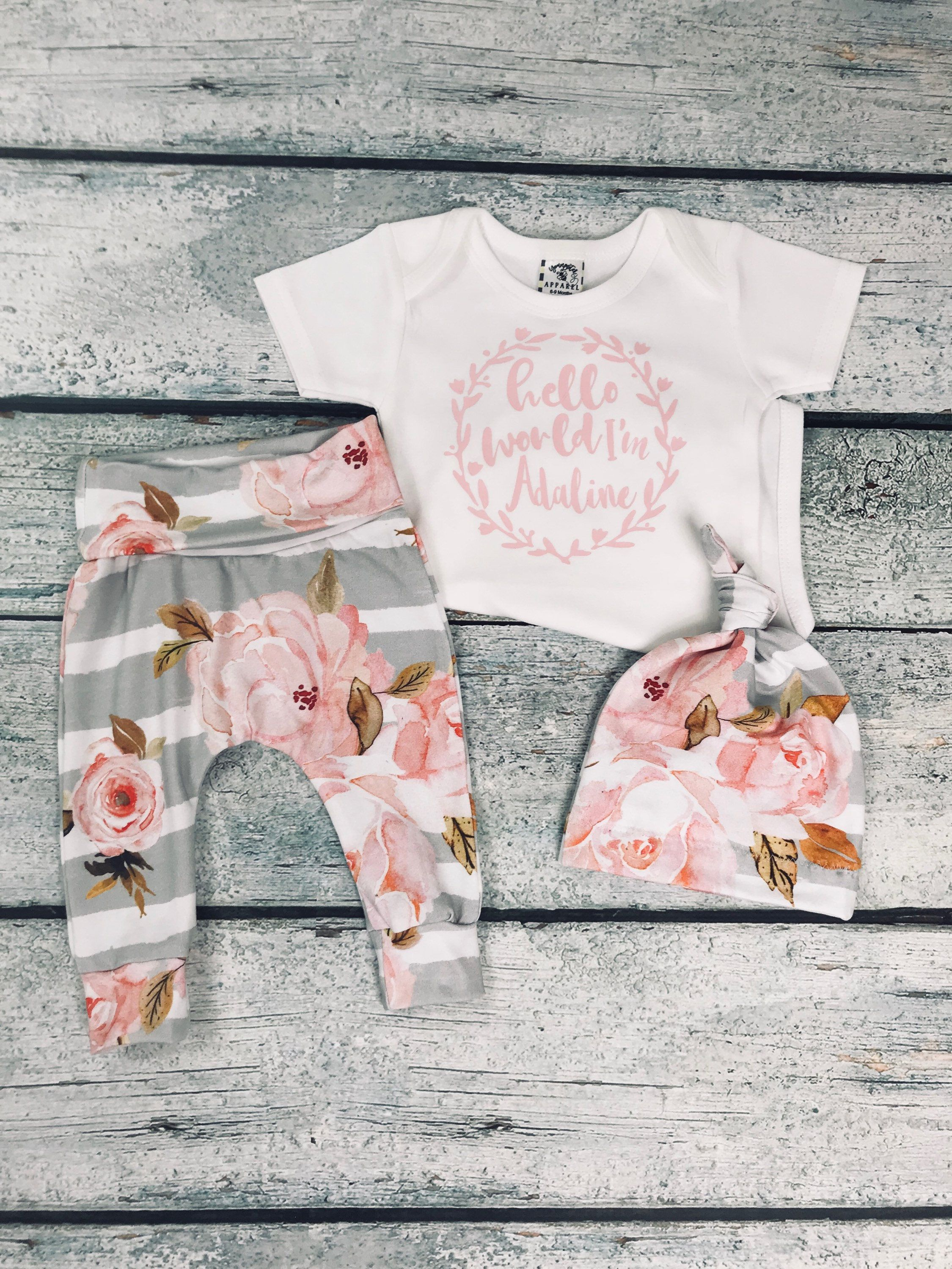 58c336dc7890 baby girl coming home outfit  newborn girl take home set personalized  newborn set by bibitibobitiboutique on Etsy
